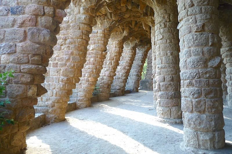 Barcelona's Park Güell columns